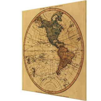 Antique William Faden 1786 Western Hemisphere Map Canvas Print