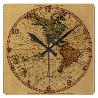 Antique William Faden 1786 Western Hemisphere Map Square Wall Clocks