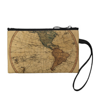 Antique William Faden 1786 Western Hemisphere Map Coin Wallet