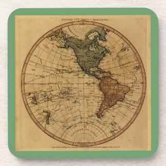 Antique William Faden 1786 Western Hemisphere Map Drink Coaster