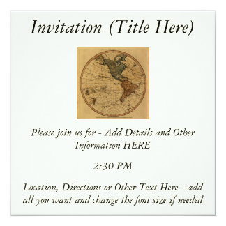 Antique William Faden 1786 Western Hemisphere Map 5.25x5.25 Square Paper Invitation Card