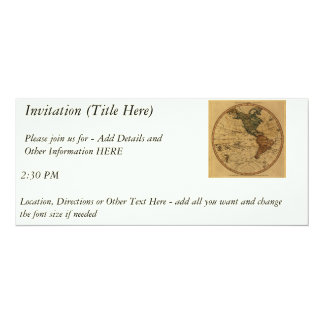 Antique William Faden 1786 Western Hemisphere Map 4x9.25 Paper Invitation Card