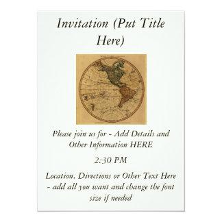 Antique William Faden 1786 Western Hemisphere Map 5.5x7.5 Paper Invitation Card