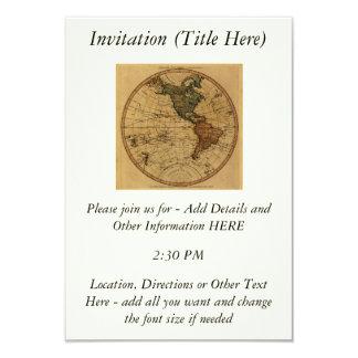 Antique William Faden 1786 Western Hemisphere Map 3.5x5 Paper Invitation Card