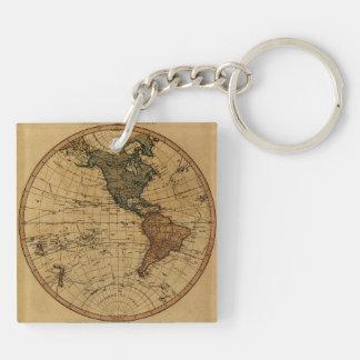 Antique William Faden 1786 Western Hemisphere Map Keychain