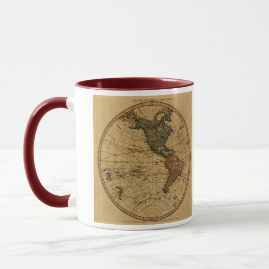 Antique William Faden 1786 Western Hemisphere Map Mug