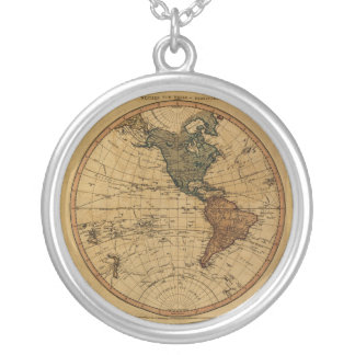 Antique William Faden 1786 Western Hemisphere Map Round Pendant Necklace