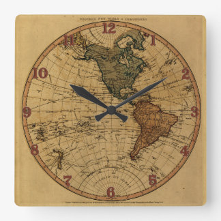 Antique William Faden 1786 Western Hemisphere Map Square Wall Clock