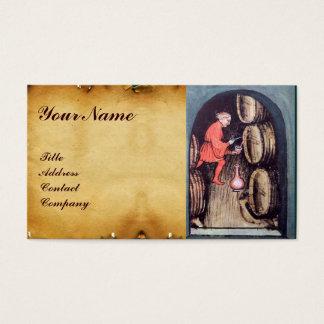 ANTIQUE WINE CELLAR AND VINEYARD HARVEST MONOGRAM BUSINESS CARD