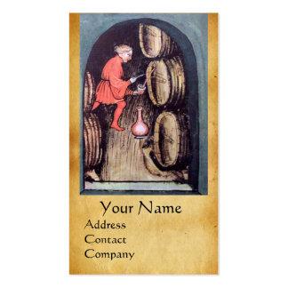 ANTIQUE WINE CELLAR  RED WAX SEAL MONOGRAM BUSINESS CARD