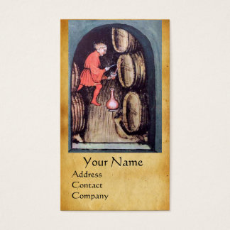 ANTIQUE WINE CELLAR  RED WAX SEAL MONOGRAM BUSINESS CARD