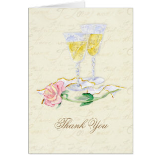 Antique Wine Glasses - Cream Thank You Notes Stationery Note Card