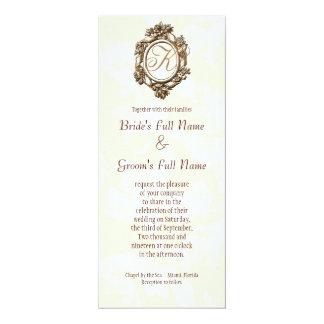 "Antique Wine Glasses - Cream Wedding Invitation 4"" X 9.25"" Invitation Card"