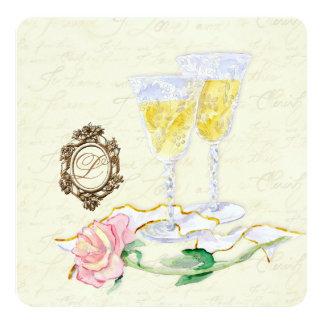 "Antique Wine Glasses - Cream Wedding Invitation 5.25"" Square Invitation Card"
