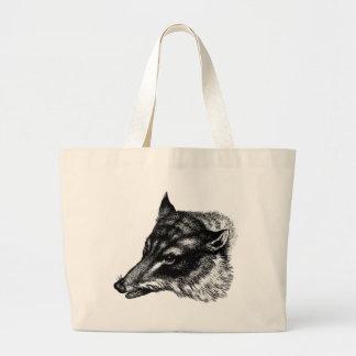 Antique Wolf Totebag Large Tote Bag