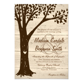 Antique Wood Carved Heart Tree Wedding Invites