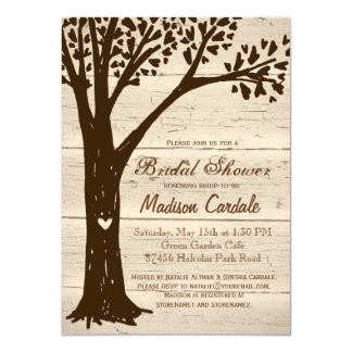 Antique Wood Carved Tree Bridal Shower Invitations