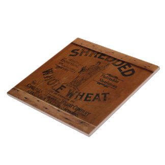 Antique Wood Crate Shipping Box Shredded Wheat Tile