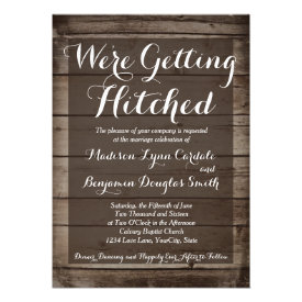 Antique Wood Getting Hitched Wedding Invitations Personalized Invites