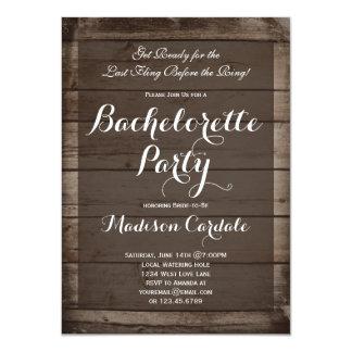 Antique Wood Rustic Bachelorette Party Invitations