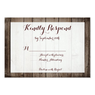 Antique Wood Rustic Country Wedding RSVP Cards