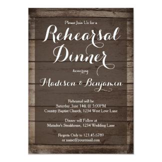 "Antique Wood Wedding Rehearsal Dinner Invitations 4.5"" X 6.25"" Invitation Card"