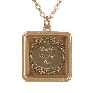 Antique Wood World's Greatest Dad Necklaced Square Pendant Necklace