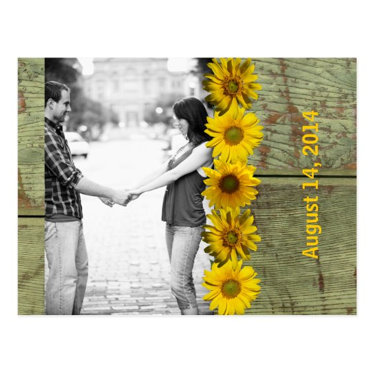 Antique Wood Yellow Sunflower Photo Save the Date Postcard