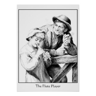 Antique Woodcut of Shepherd Boy Playing Flute Poster
