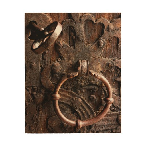 Antique Wood Wall Decor : Antique wooden door with brass lock and key wood wall art