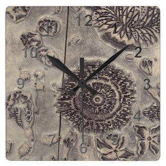 Antique Wooden Print Block. Square Wall Clocks