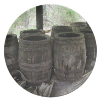 antique wooden turpentine barrels plate