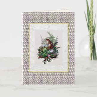 Antique Woodland Winter Illustration Greeting Card