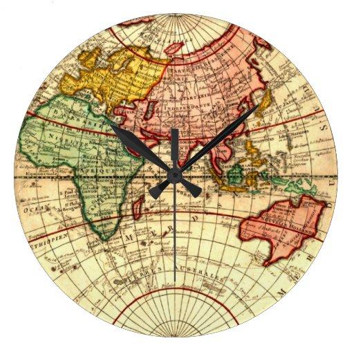 Antique World Globe Map Vintage Art Designer Style Round