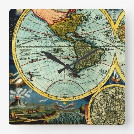 Antique World Globe Map Vintage Art Designer Style Square Wallclock