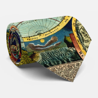 Antique World Globe Map Vintage Art History Tie