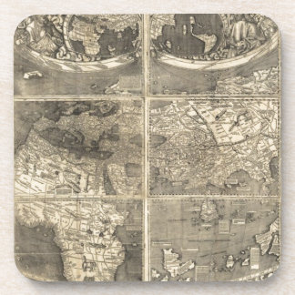 Antique World Map 1507 Coasters
