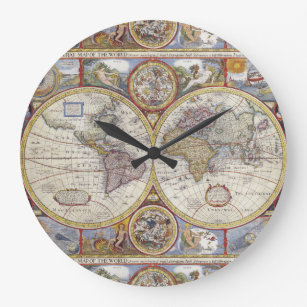 Colorful world map wall clocks zazzle antique world map 1626 illustrated cartography large clock gumiabroncs Image collections