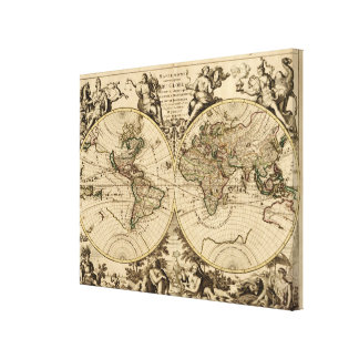 Antique World Map, 1694, by Alexis Hubert Jaillot Canvas Print