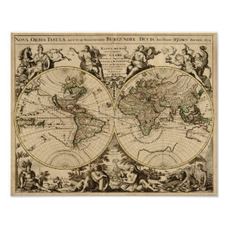 Antique World Map, 1694, by Alexis Hubert Jaillot Poster