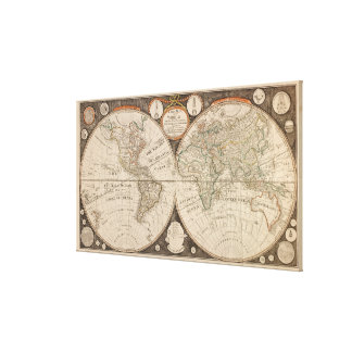 Antique World Map, 1799 (Thomas Kitchen) Canvas Print