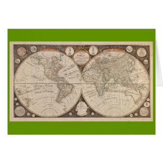 Antique World Map, 1799 (Thomas Kitchen) Cards
