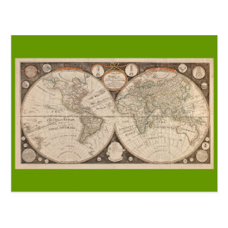 Antique World Map, 1799 (Thomas Kitchen) Postcards