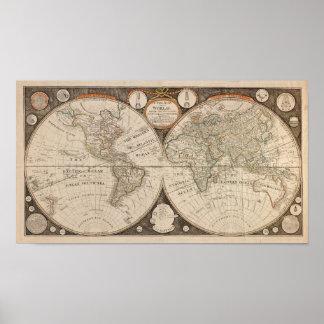 Antique World Map 1799 Thomas Kitchen Posters