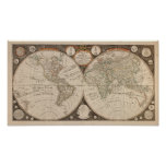 Antique World Map, 1799 (Thomas Kitchen) Posters