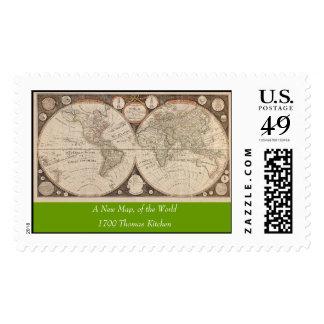Antique World Map, 1799 (Thomas Kitchen) Stamps