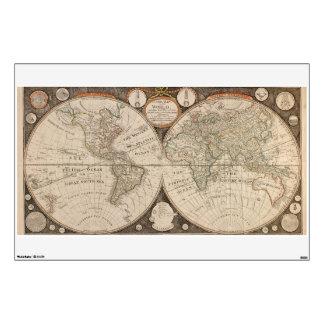 Antique World Map, 1799 (Thomas Kitchen) Wall Sticker