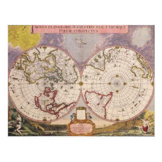 Antique World Map 17th Century Postcard