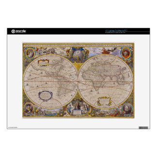 "Antique World Map 2 15"" Laptop Decal"