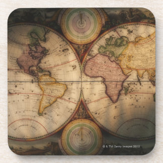 Antique world map 2 drink coaster